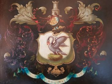 "British Noble Crest with a Swan and Motto ""Jour de ma vie"", ca. 1800"
