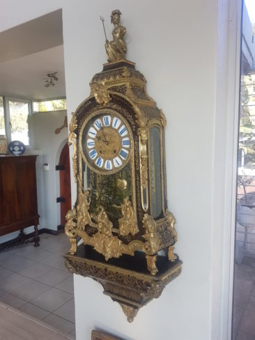 Important French Console Clock Inlaid in the Boulle Technique