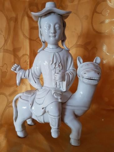 No 217  Blanc de Chine or Dehua Figurine – Dutch Man on Horse