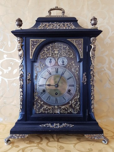 Antique German Table Clock with Rich Bronze Mounts in Ebonized Casing. Circa 1880