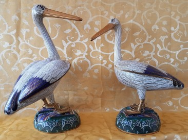 Pair of Chinese Cloisonné Pelicans, High 47 cm, Mid 20th Century.
