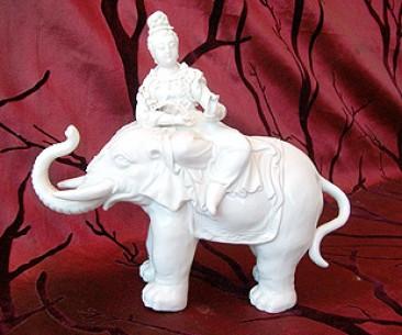No 131 – Dehua Blanc de Chine Porcelain Elephant Carrying a Guan Yin