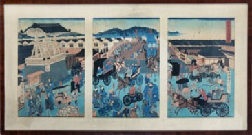 No 07 – Japanese Woodblock Prints, Busy Traffic Intersection, Triptych