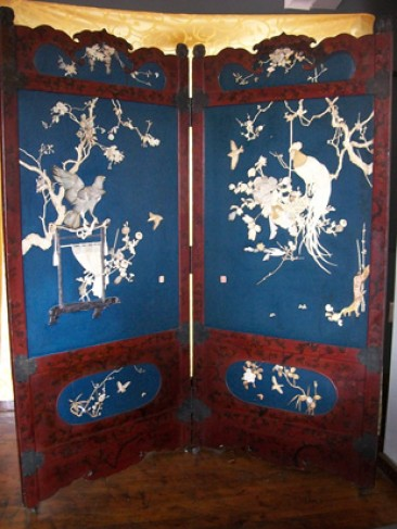Japanese Lacquer Two Fold Screen, Meiji Period