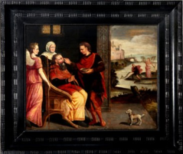 No 12 – Antique European Paintings: Oil Paint on Panel of Tobias Healing His Father, 17th Century